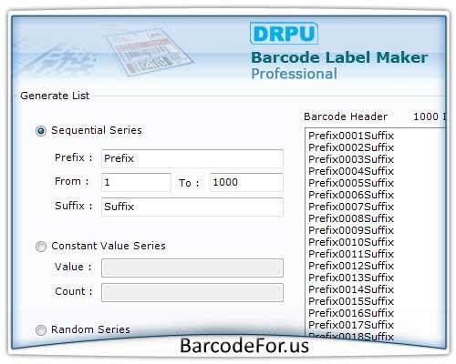 Professional Barcode Printing Software screenshot